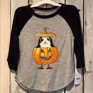 Star Wars Halloween Porg Pumpkin Shirt NWTS